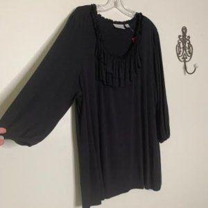 Avenue Black ¾ Sleeve Flowy Blouse Sz 22/24